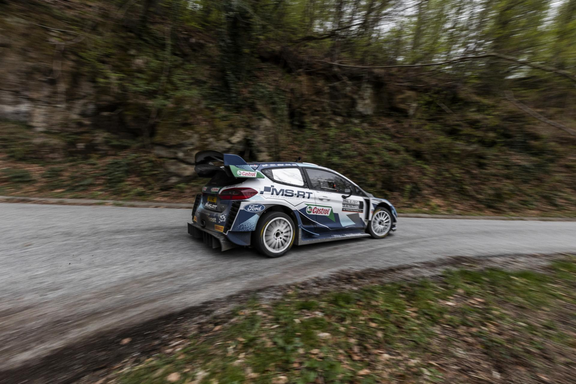 Adrien Fourmaux (driver) and Martin Sinkovic (co-driver) perform during SI WRC co-driving experience with Adrien Fourmaux at Brezova Gora, Croatia on April 17, 2021.